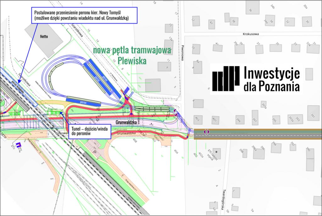 """Rysunek 4: schemat przykładowego kształtu pętli tramwajowej """"Plewiska"""" (grafika: Jacek Jarzina, IdP)"""