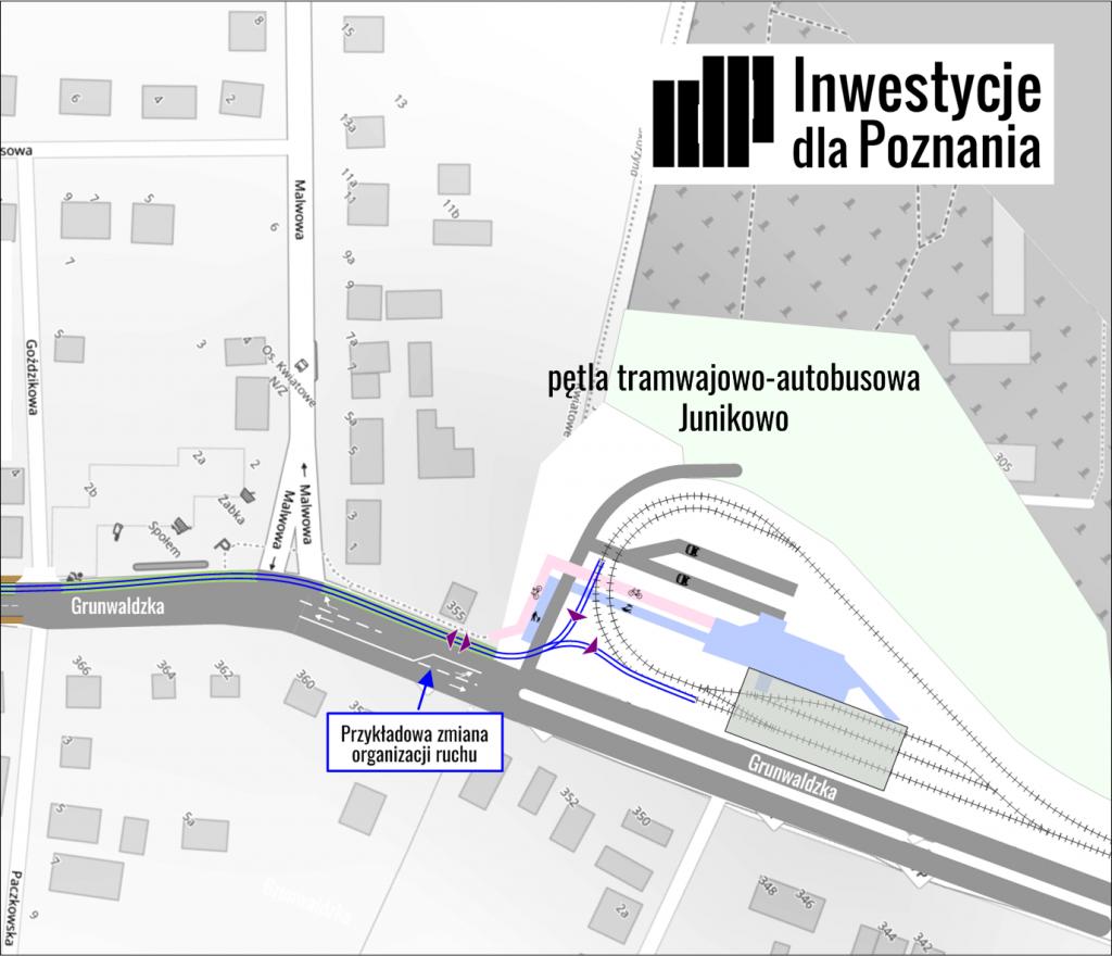 """Rysunek 5: schemat przykładowego podłączenia nowego torowiska do pętli tramwajowej """"Junikowo"""" (grafika: Jacek Jarzina, IdP)"""