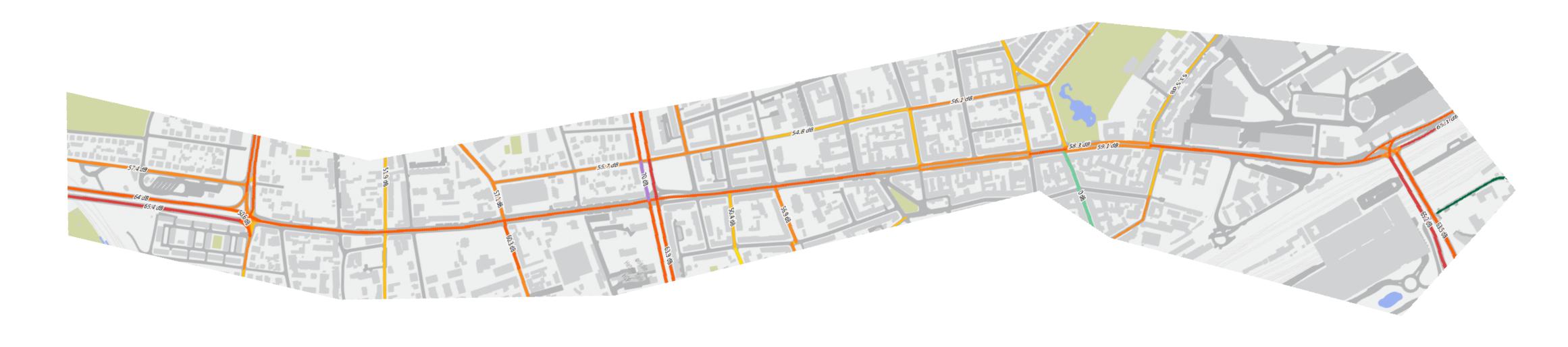 obrócona Mapka emisji hałasu samochodowego 2017