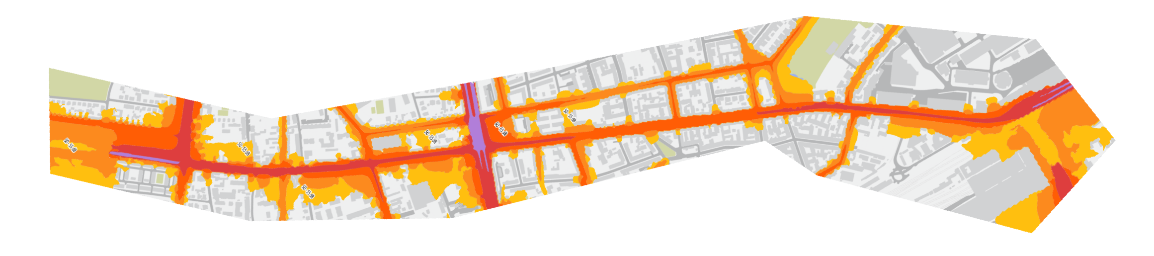 obrócona Mapka imisji hałasu samochodowego 2017