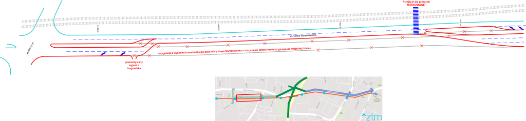 optymalizacja Nw Naramowicka 2x1 pas ruchu i przejście dla pieszych w ciągu Łokietka-Jasna Rola odcinek Łużycka-Nw Stoińskiego
